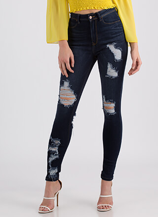 Back At It Destroyed High-Waisted Jeans
