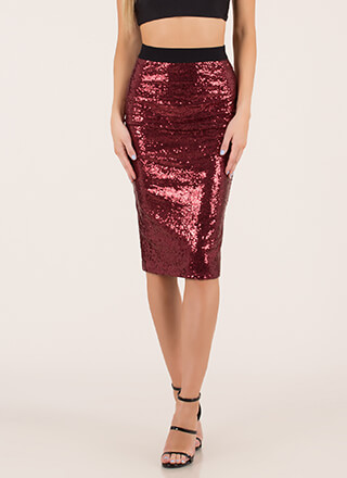 Party Of One Sequined Pencil Skirt
