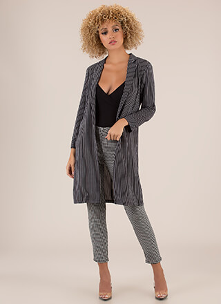 My Business Striped Blazer Duster