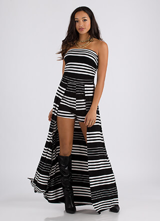 Back In Line Strapless Striped Maxi