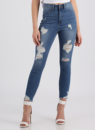Destroyed It High-Waisted Skinny Jeans
