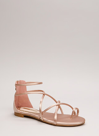 Jump Thru Loops Strappy Satin Sandals