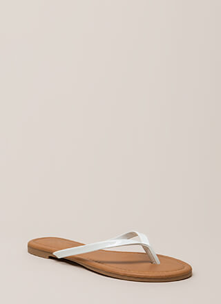 Everyday Wear Faux Patent Thong Sandals