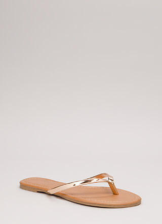 Everyday Wear Metallic Thong Sandals
