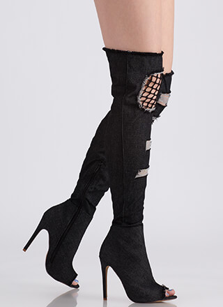 Hole Thing Peep-Toe Thigh-High Boots