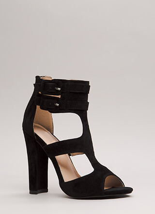Gettin' It Strappy Caged Cut-Out Heels