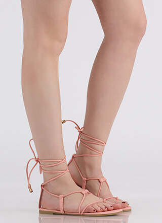 Tied Game Faux Leather Gladiator Sandals