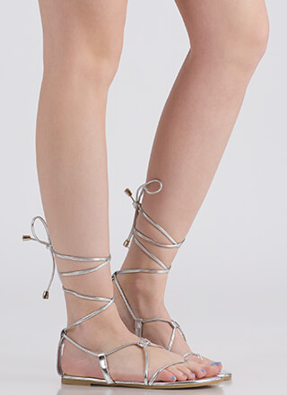 Tied Game Metallic Gladiator Sandals