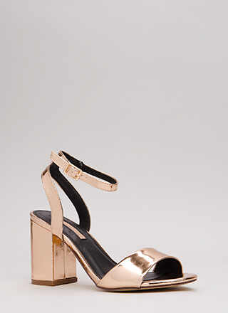 Block Me Chunky Faux Patent Heels