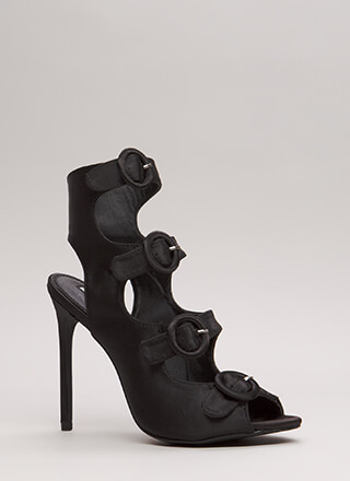 Four's Company Cut-Out Satin Heels