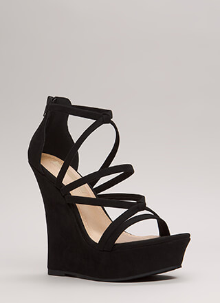 Knots And Straps Faux Suede Wedges