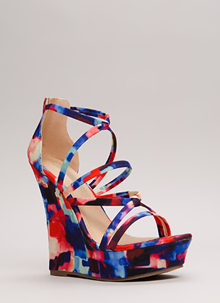 Knots And Straps Abstract Print Wedges