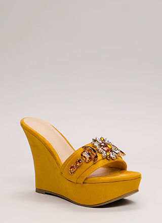 You're A Gem Jeweled Faux Suede Wedges