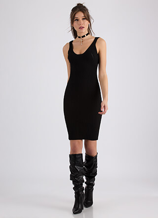 Greatly Appreciated Rib Knit Tank Dress