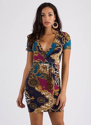 Luxe Life Faux Wrap Mixed Print Dress
