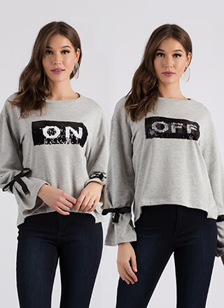 On-Off Relationship Sequined Sweatshirt