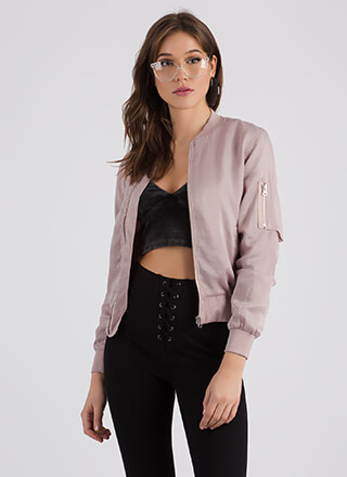On Your Way Zip-Up Bomber Jacket