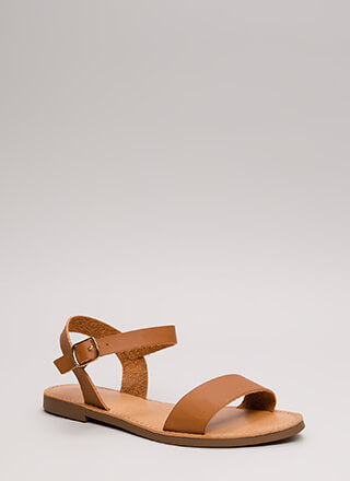 Ready To Go Faux Leather Sandals