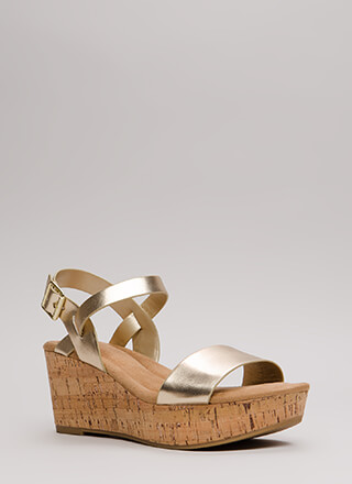 Put A Cork In It Metallic Wedges