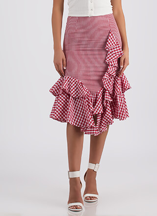 Retro Ruffles Gingham Midi Skirt