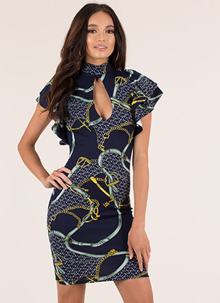 Straps And Chains Ruffled Print Dress
