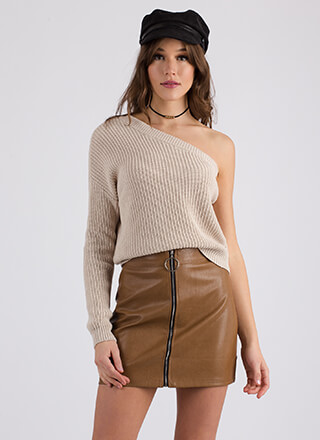 It Only Takes One-Shoulder Knit Sweater