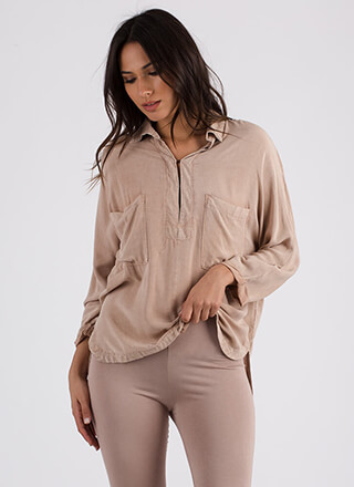 Casual Relationship Pocketed Tunic Top