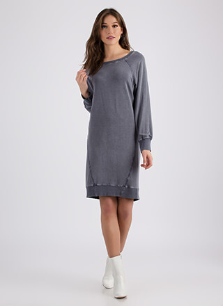 It's A Cinch Lace-Back Sweatshirt Dress
