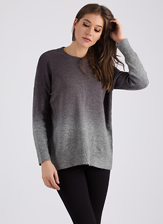 All About Ombre Fuzzy Knit Sweater