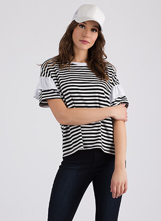 Staying Striped Ruffled Sleeve Tee