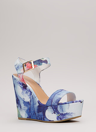 Raise Me Up Floral Platform Wedges