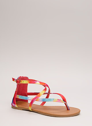 Are You Strappy Now Rainbow Sandals