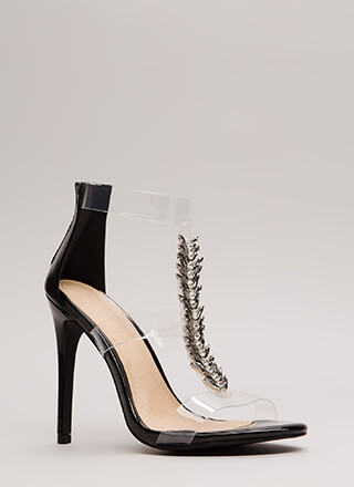 Fine Feather Jeweled Clear Strap Heels