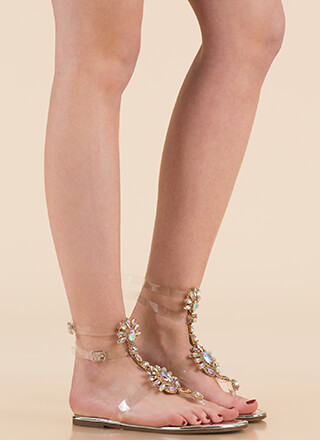 Clearly Blooming Shiny Jeweled Sandals