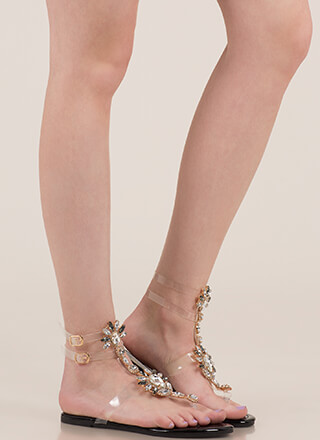 Clearly Blooming Caged Jeweled Sandals