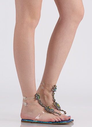 Clearly Blooming Scaled Jeweled Sandals