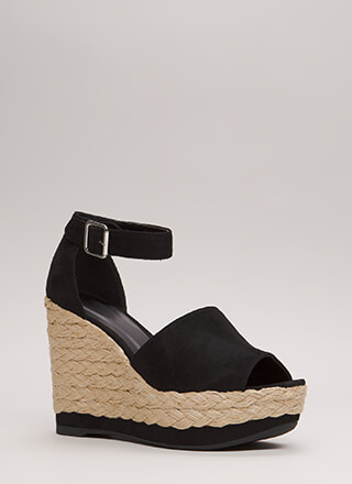 Better Braided Peep-Toe Platform Wedges