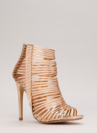 Stacked Up Metallic Strappy Caged Heels