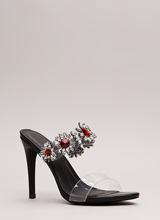 Clear As Day Jeweled Flower Heels