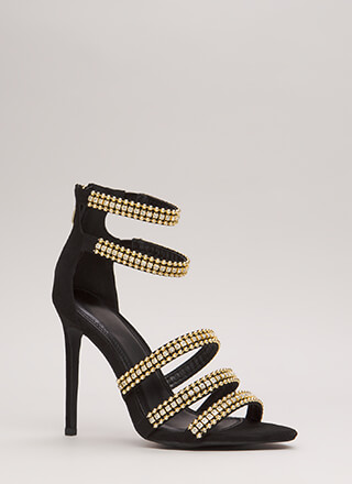 Studded With Jewels Strappy Heels