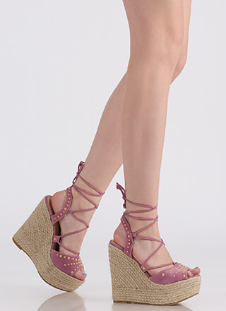 Spring Fling Lace-Up Espadrille Wedges