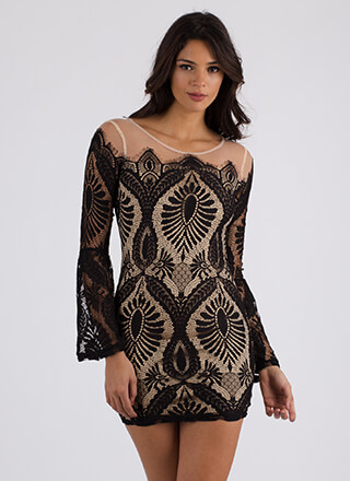Lady In Lace Bell Sleeve Minidress