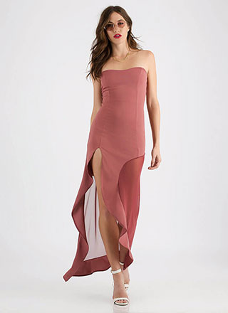 Hot Mesh Strapless Asymmetrical Maxi