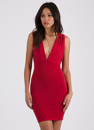 Taking The Plunge Cross-Back Dress