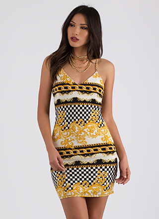 That's Rich Lace-Back Mixed Print Dress