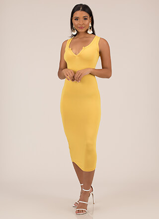 Up A Notch Plunging Midi Dress