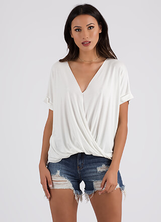 Effortless Chic Draped Surplice Blouse
