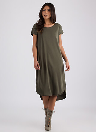 Casual Everyday High-Low Shirt Dress