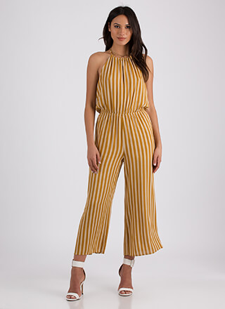 This Is Me Striped Halter Jumpsuit