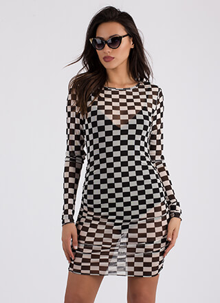 Sheer Of It Printed Mesh Bodysuit Dress